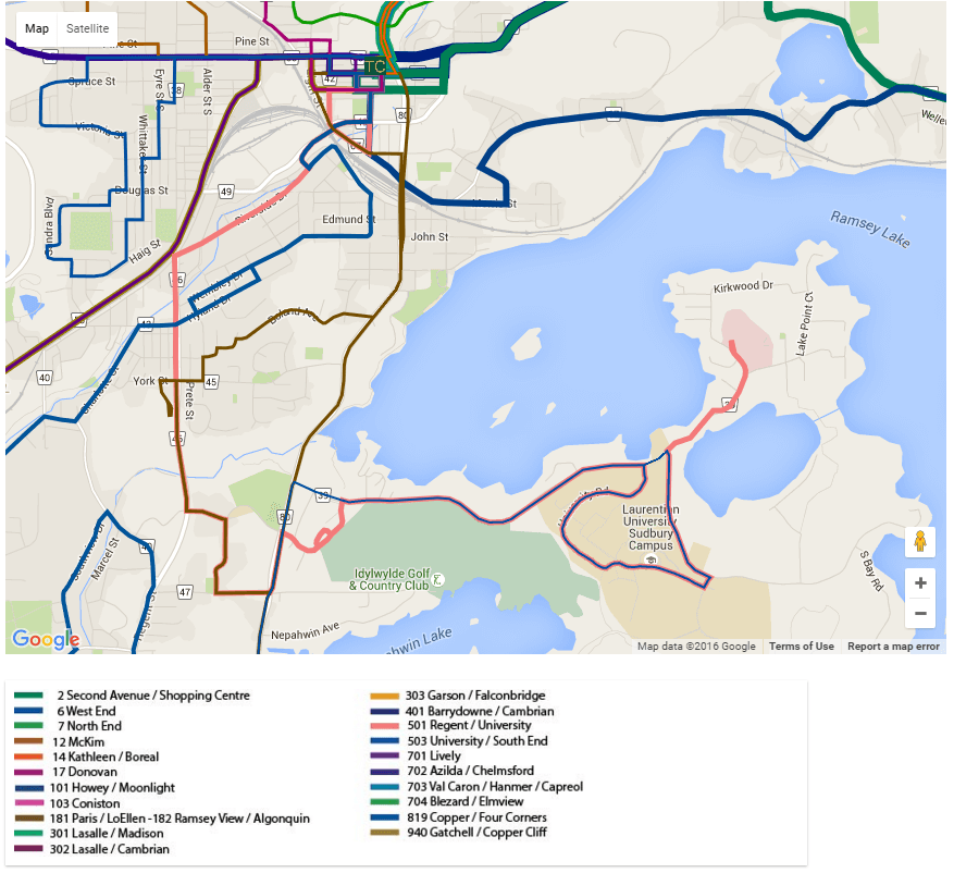 Popular Stops on the Greater Sudbury Public Transit Map Quality